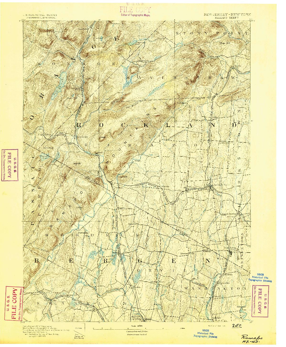 USGS 1:62500-SCALE QUADRANGLE FOR RAMAPO, NJ 1891