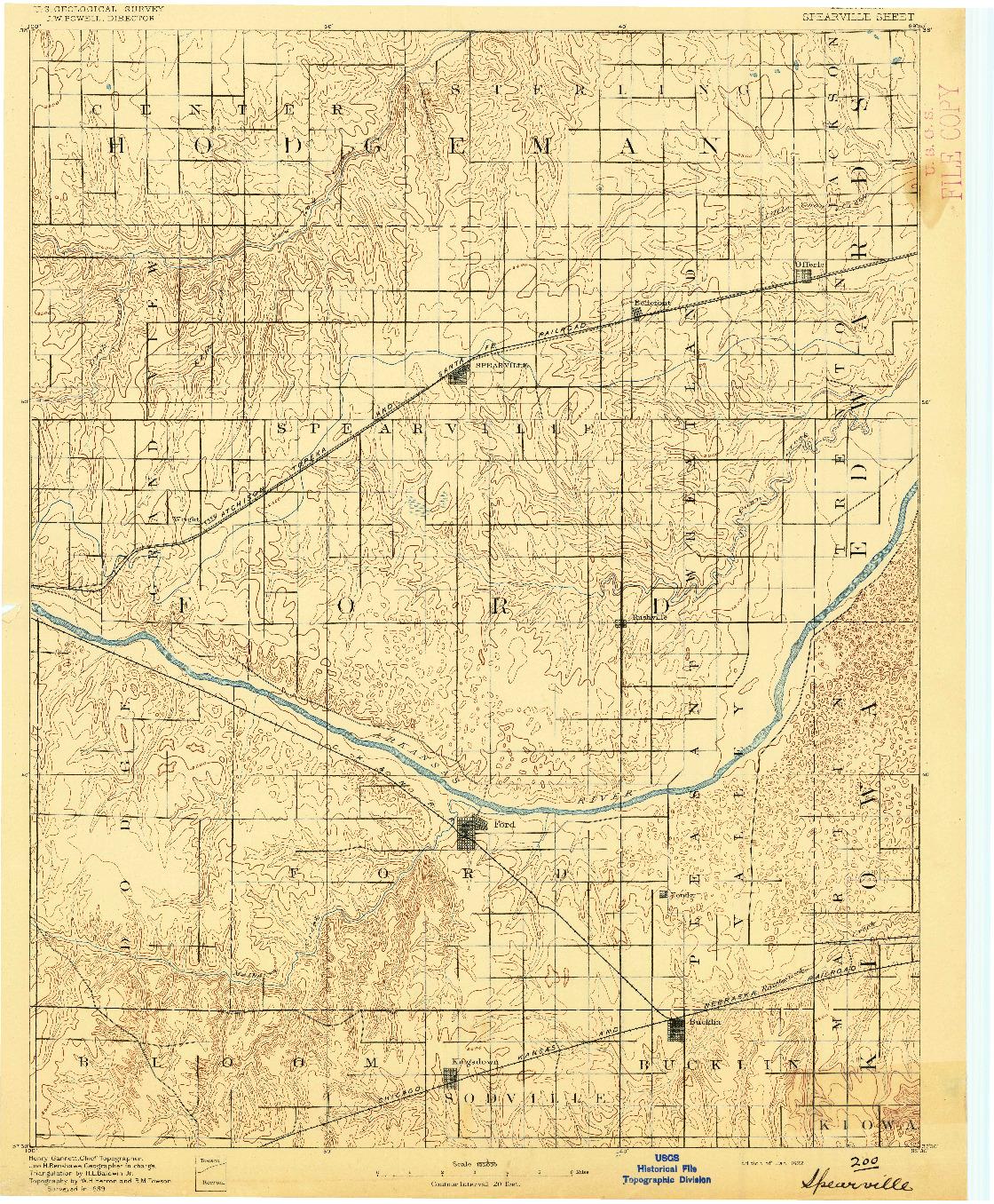 USGS 1:125000-SCALE QUADRANGLE FOR SPEARVILLE, KS 1892