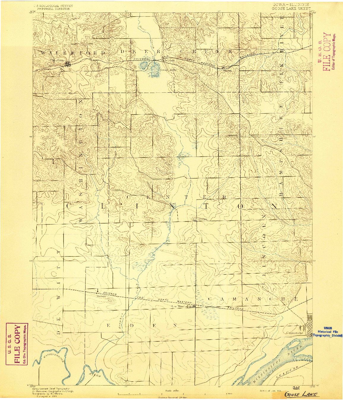 USGS 1:62500-SCALE QUADRANGLE FOR GOOSE LAKE, IA 1892