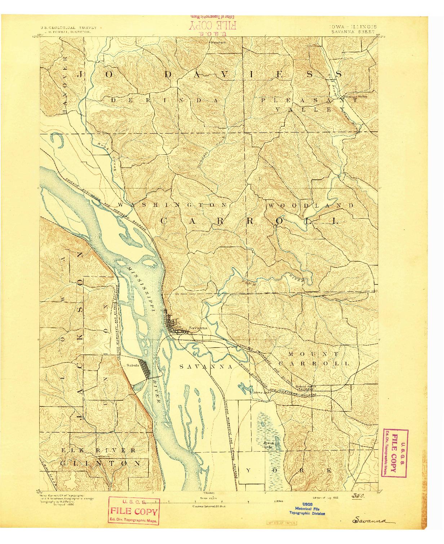 USGS 1:62500-SCALE QUADRANGLE FOR SAVANNA, IA 1892