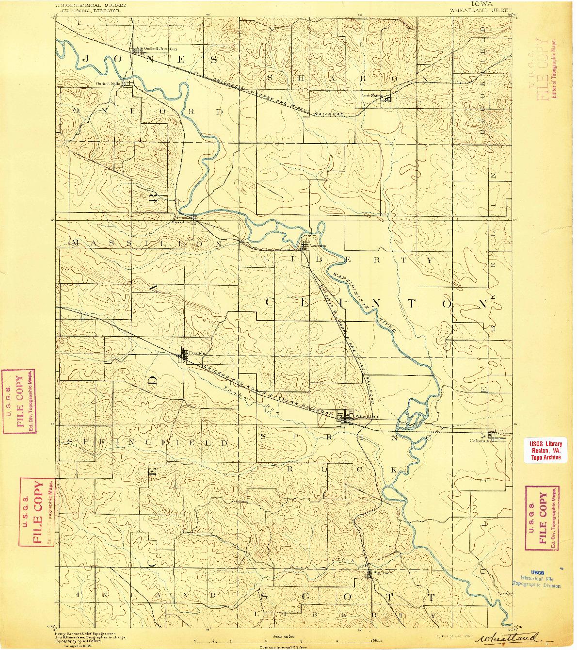 USGS 1:62500-SCALE QUADRANGLE FOR WHEATLAND, IA 1892