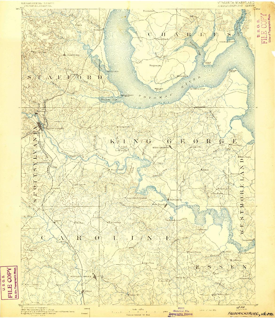 USGS 1:125000-SCALE QUADRANGLE FOR FREDERICKSBURG, VA 1892