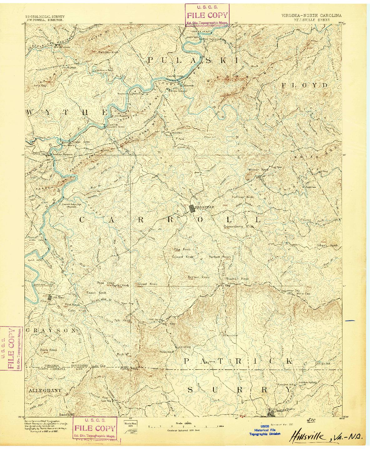 USGS 1:125000-SCALE QUADRANGLE FOR HILLSVILLE, VA 1892