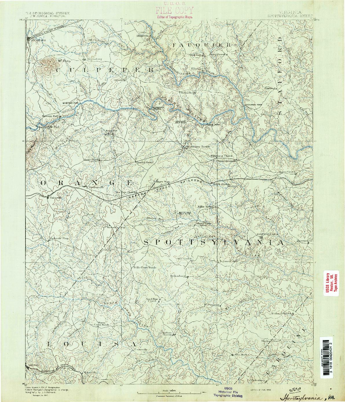 USGS 1:125000-SCALE QUADRANGLE FOR SPOTTSYLVANIA, VA 1892