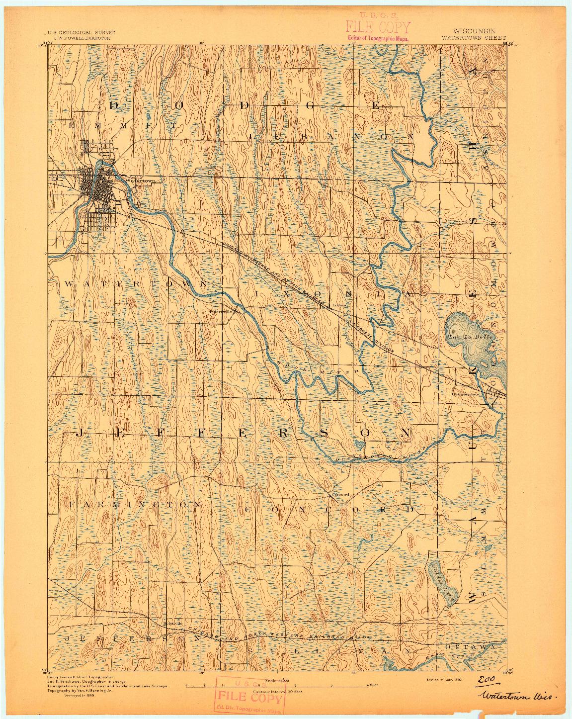 USGS 1:62500-SCALE QUADRANGLE FOR WATERTOWN, WI 1892