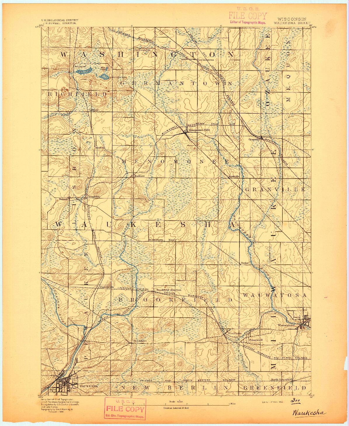 USGS 1:62500-SCALE QUADRANGLE FOR WAUKESHA, WI 1892
