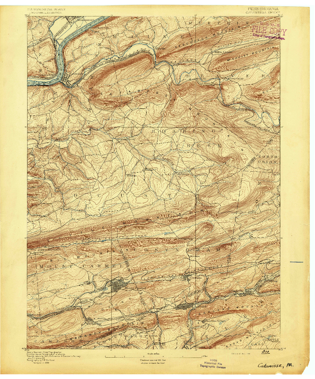 USGS 1:62500-SCALE QUADRANGLE FOR CATAWISSA, PA 1892