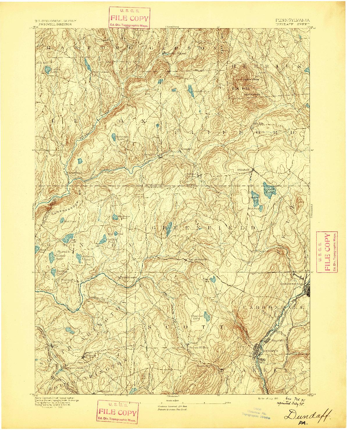 USGS 1:62500-SCALE QUADRANGLE FOR DUNDAFF, PA 1892
