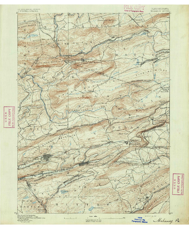 USGS 1:62500-SCALE QUADRANGLE FOR MAHANOY, PA 1892