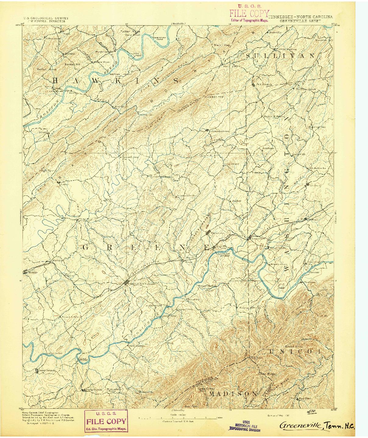 USGS 1:125000-SCALE QUADRANGLE FOR GREENEVILLE, TN 1892