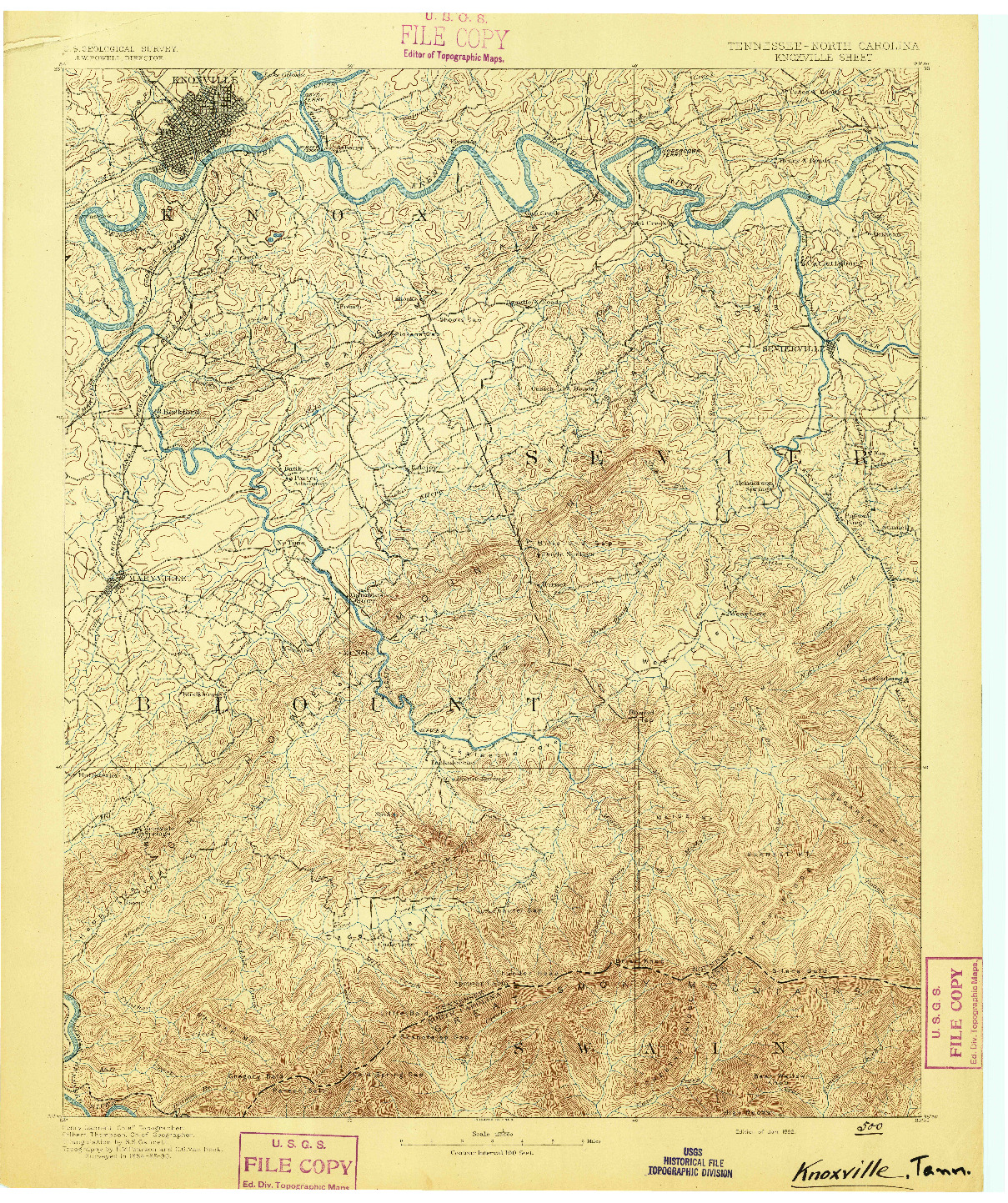 USGS 1:125000-SCALE QUADRANGLE FOR KNOXVILLE, TN 1892