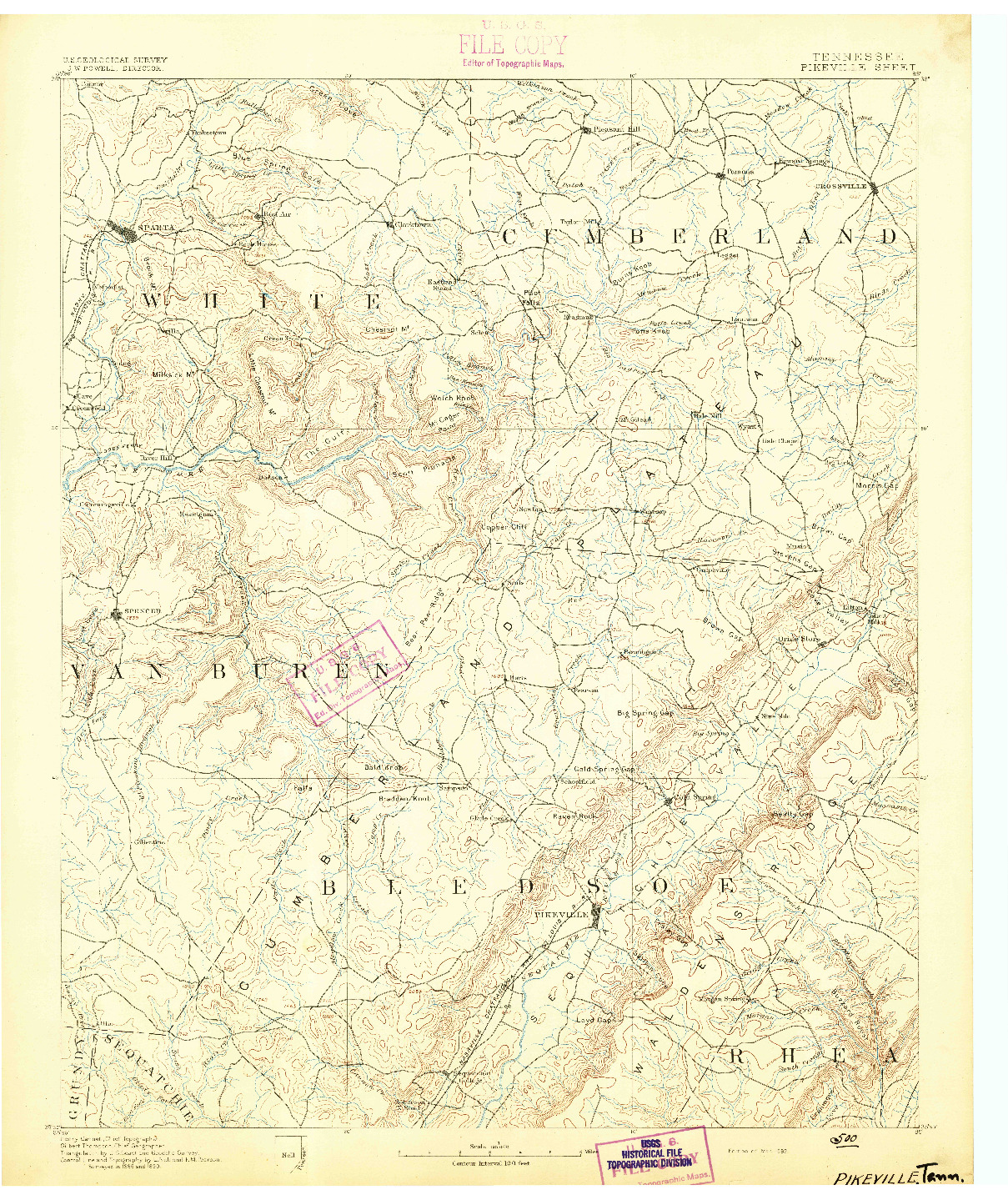 USGS 1:125000-SCALE QUADRANGLE FOR PIKEVILLE, TN 1892