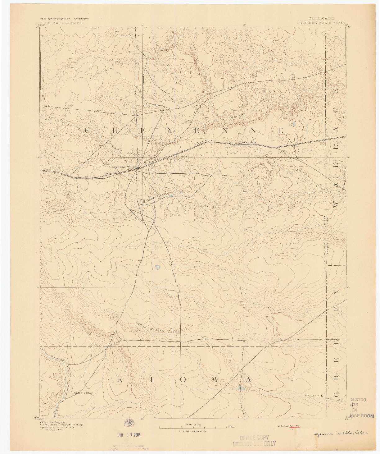 USGS 1:125000-SCALE QUADRANGLE FOR CHEYENNE WELLS, CO 1892