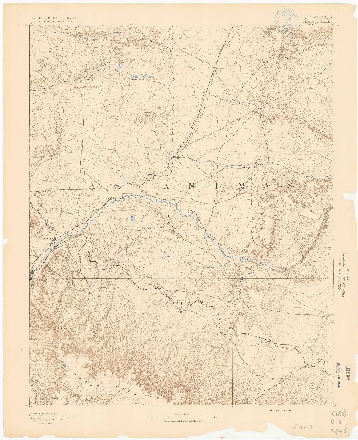 USGS 1:125000-SCALE QUADRANGLE FOR ELMORO, CO 1892