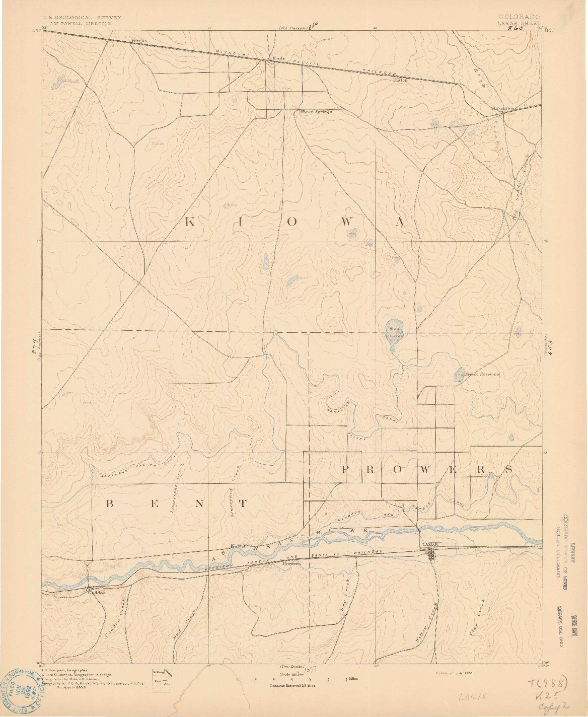 USGS 1:125000-SCALE QUADRANGLE FOR LAMAR, CO 1892