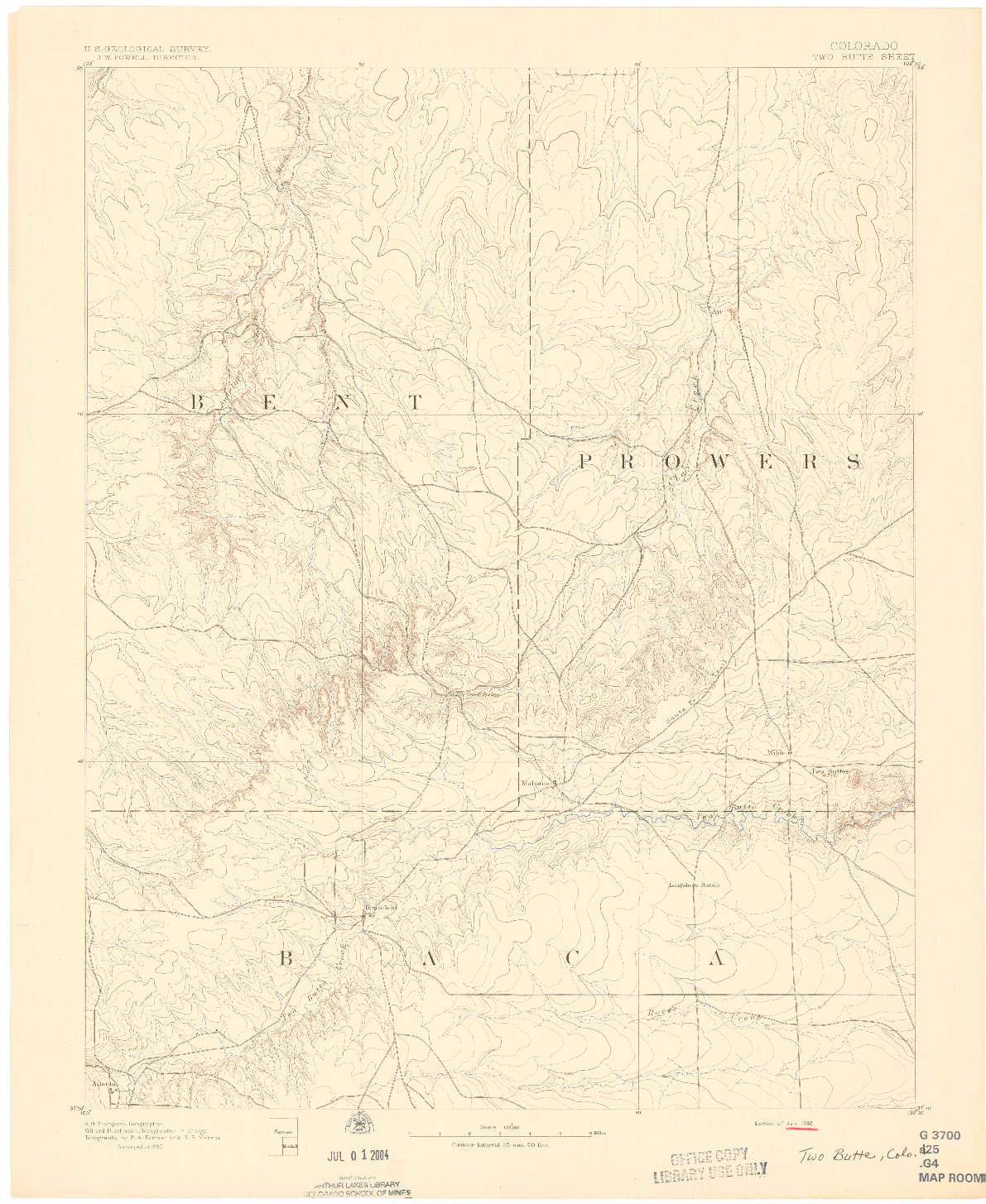 USGS 1:125000-SCALE QUADRANGLE FOR TWO BUTTE, CO 1892