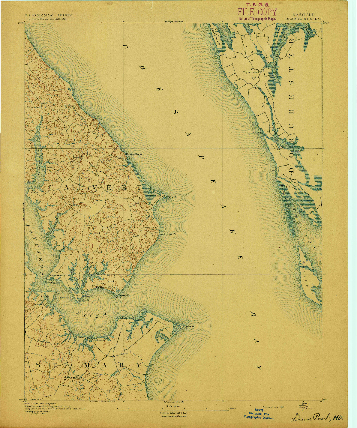 USGS 1:62500-SCALE QUADRANGLE FOR DRUM POINT, MD 1892