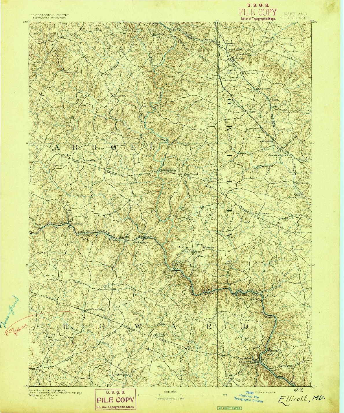 USGS 1:62500-SCALE QUADRANGLE FOR ELLICOTT, MD 1892