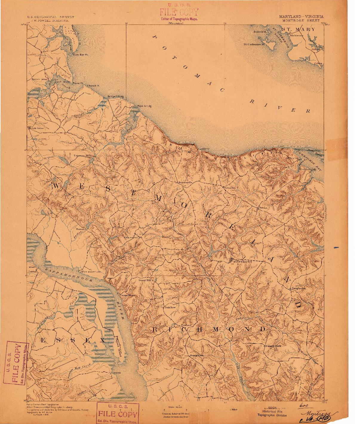 USGS 1:62500-SCALE QUADRANGLE FOR MONTROSS, MD 1892