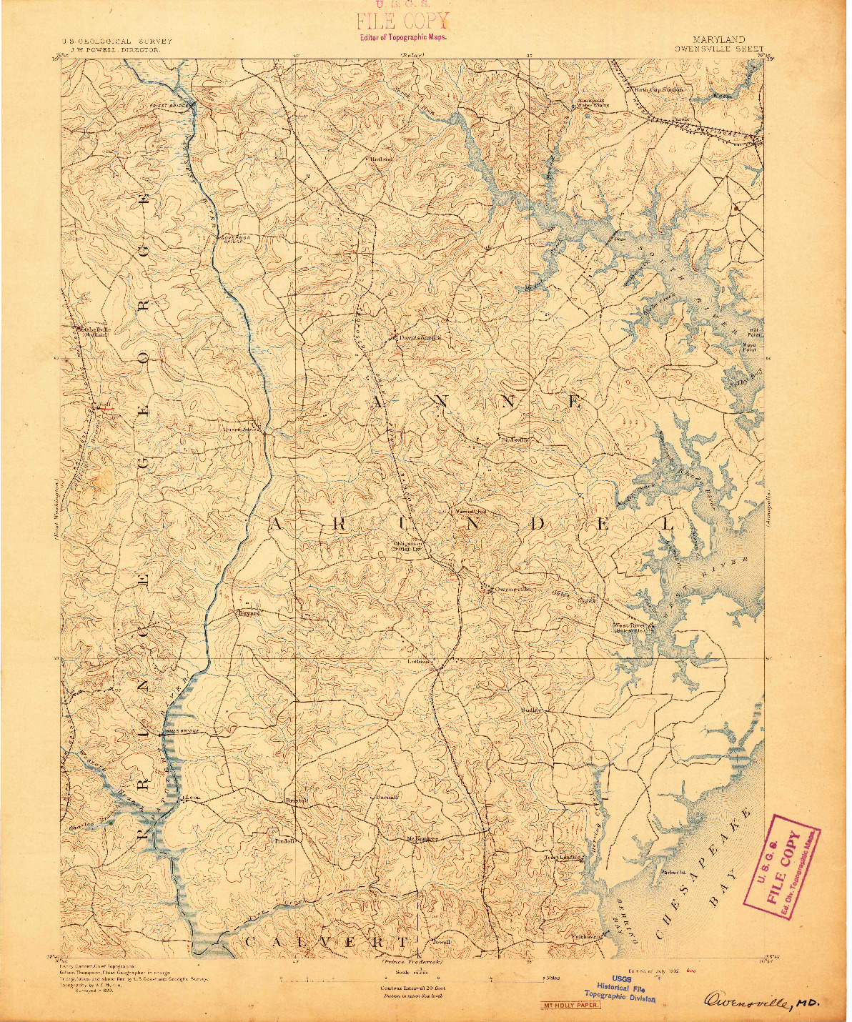 USGS 1:62500-SCALE QUADRANGLE FOR OWENSVILLE, MD 1892