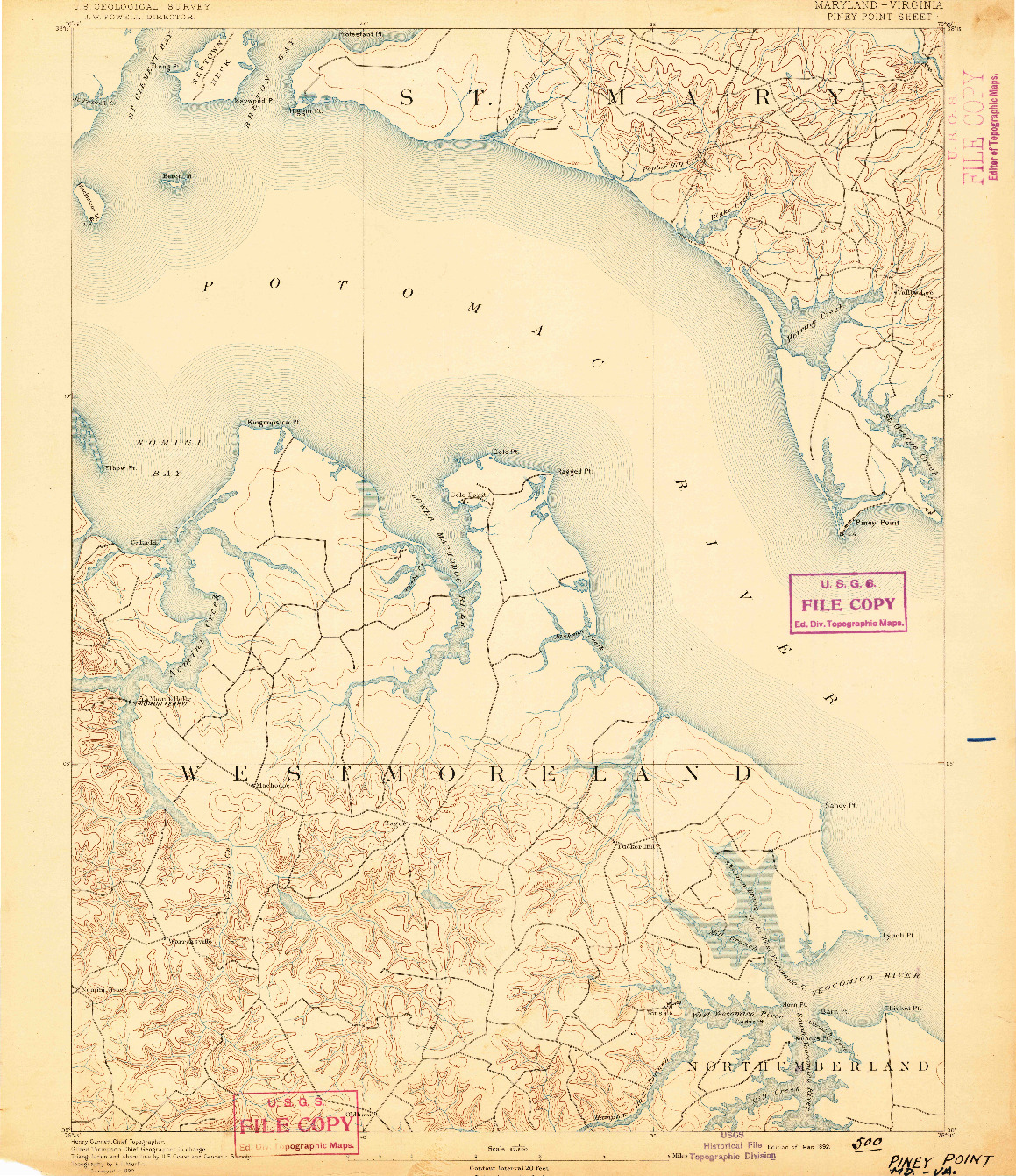 USGS 1:62500-SCALE QUADRANGLE FOR PINEY POINT, MD 1892