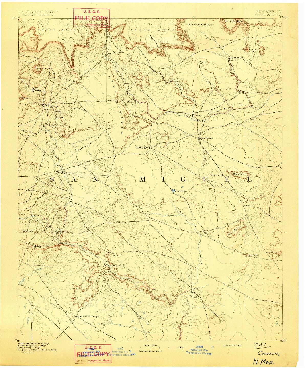 USGS 1:125000-SCALE QUADRANGLE FOR CORAZON, NM 1892