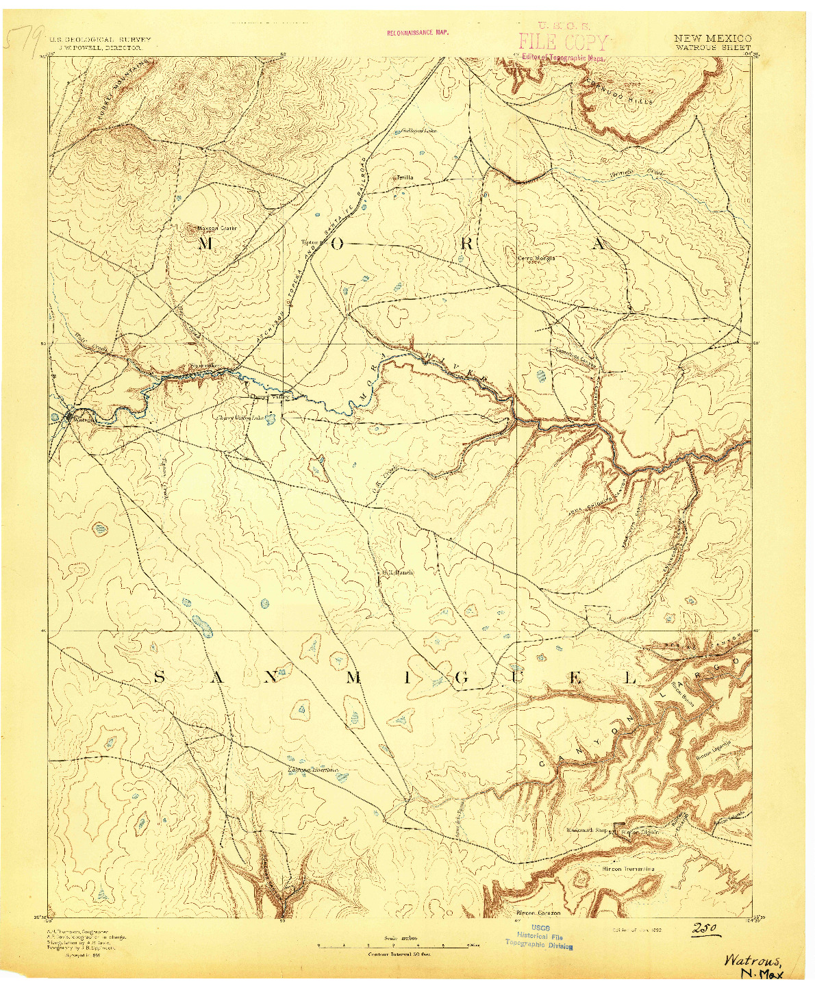 USGS 1:125000-SCALE QUADRANGLE FOR WATROUS, NM 1892