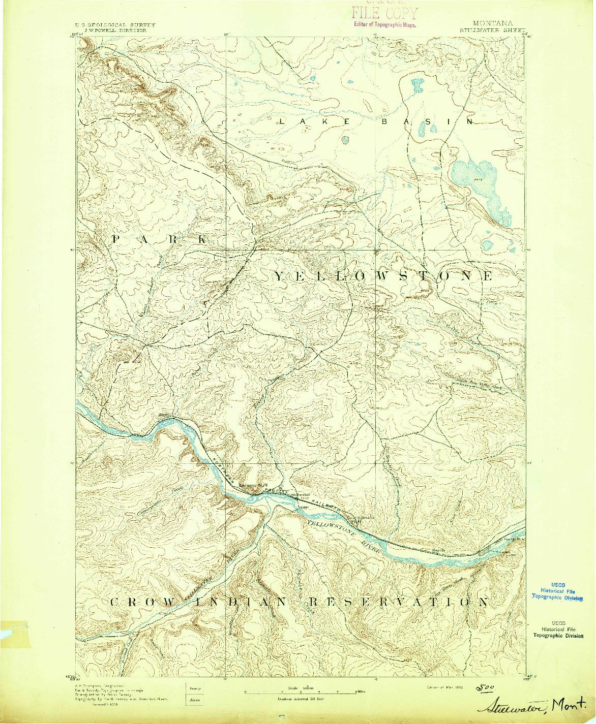 USGS 1:125000-SCALE QUADRANGLE FOR STILLWATER, MT 1892