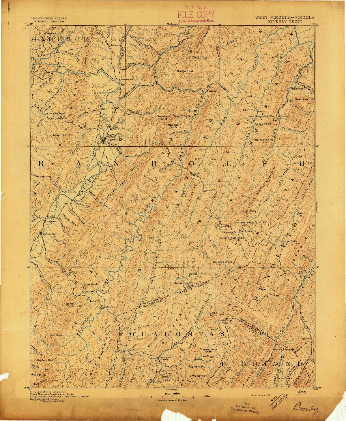 USGS 1:125000-SCALE QUADRANGLE FOR BEVERLY, WV 1892