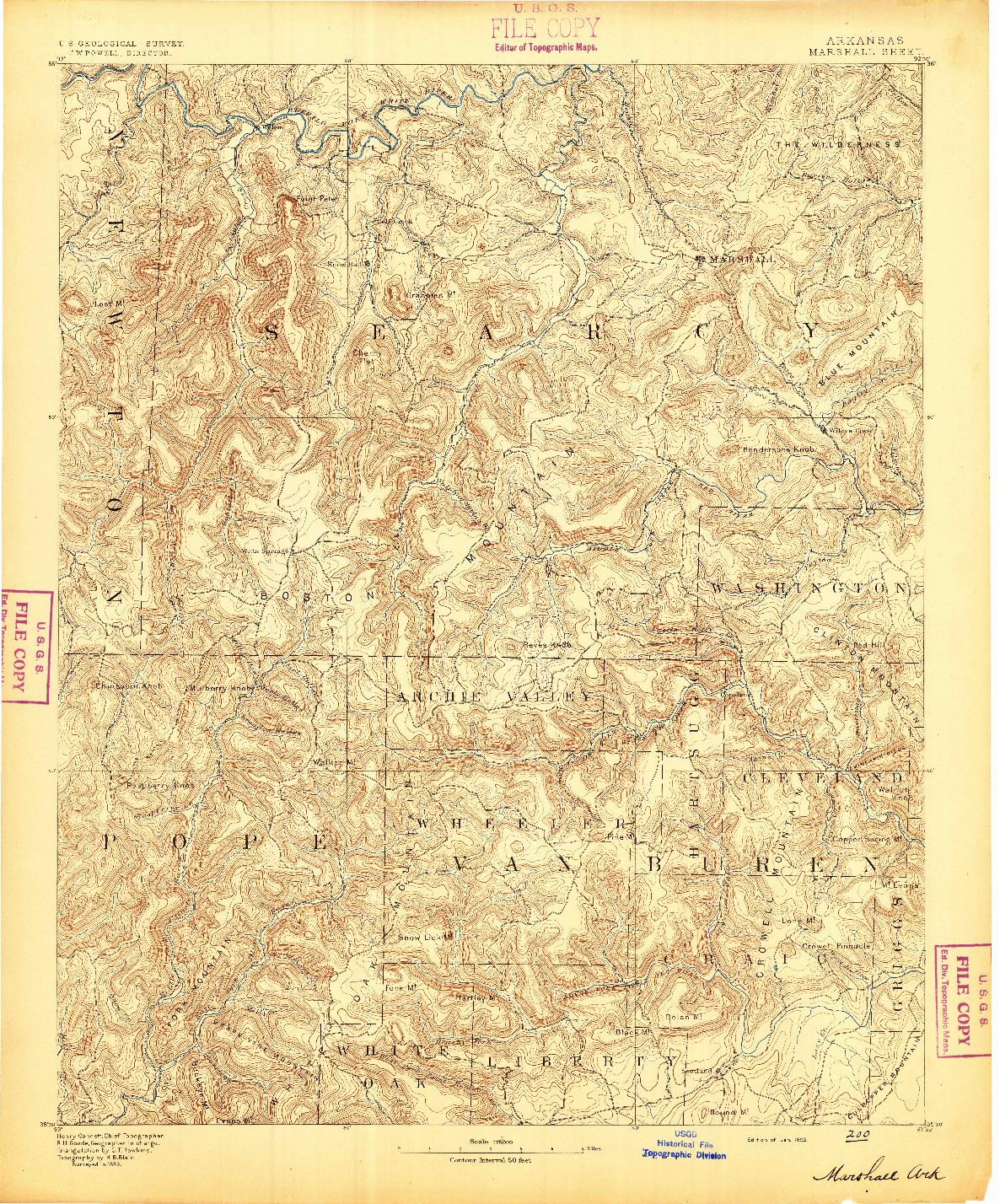 USGS 1:125000-SCALE QUADRANGLE FOR MARSHALL, AR 1892