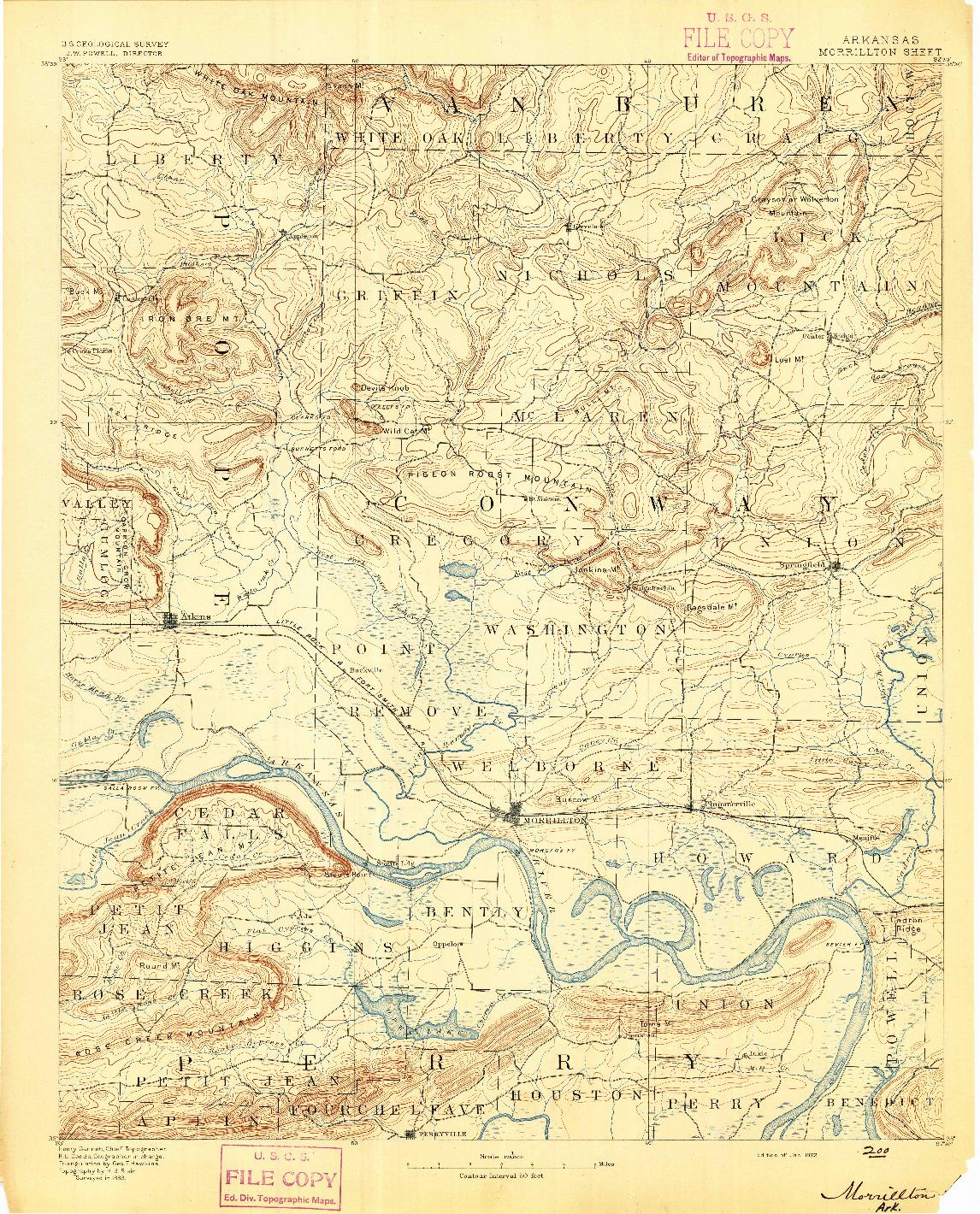 USGS 1:125000-SCALE QUADRANGLE FOR MORRILLTON, AR 1892