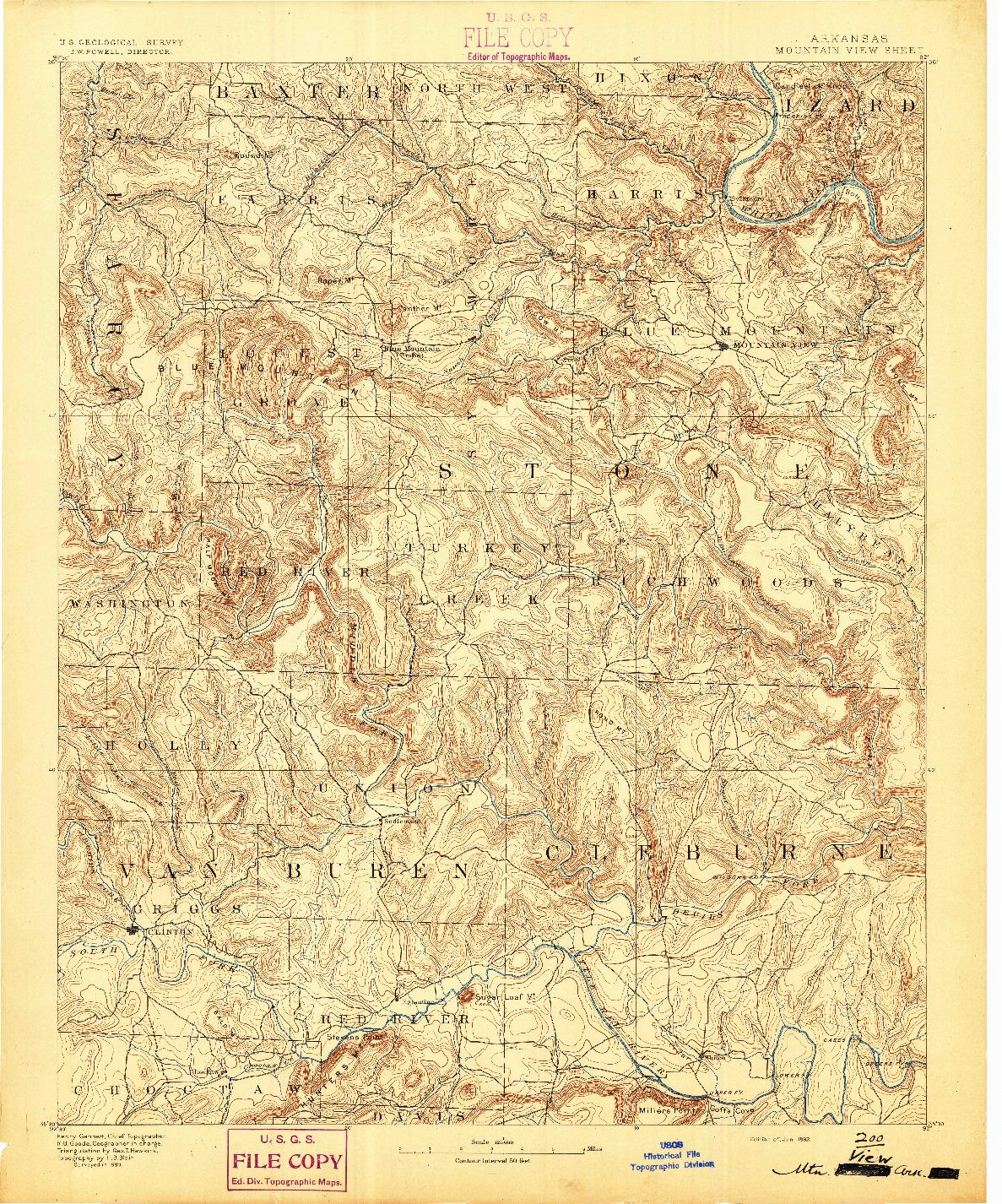 USGS 1:125000-SCALE QUADRANGLE FOR MOUNTAIN VIEW, AR 1892