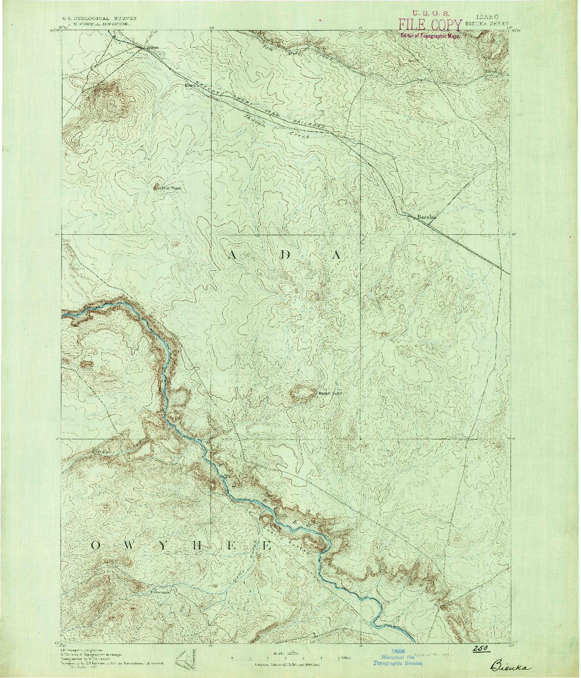 USGS 1:125000-SCALE QUADRANGLE FOR BISUKA, ID 1892