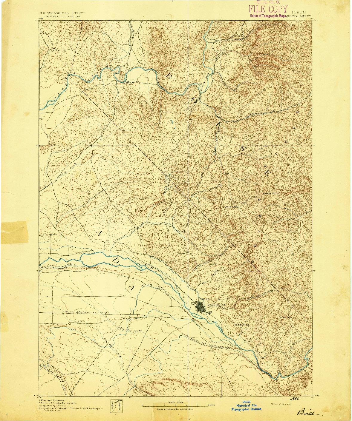 USGS 1:125000-SCALE QUADRANGLE FOR BOISE, ID 1892