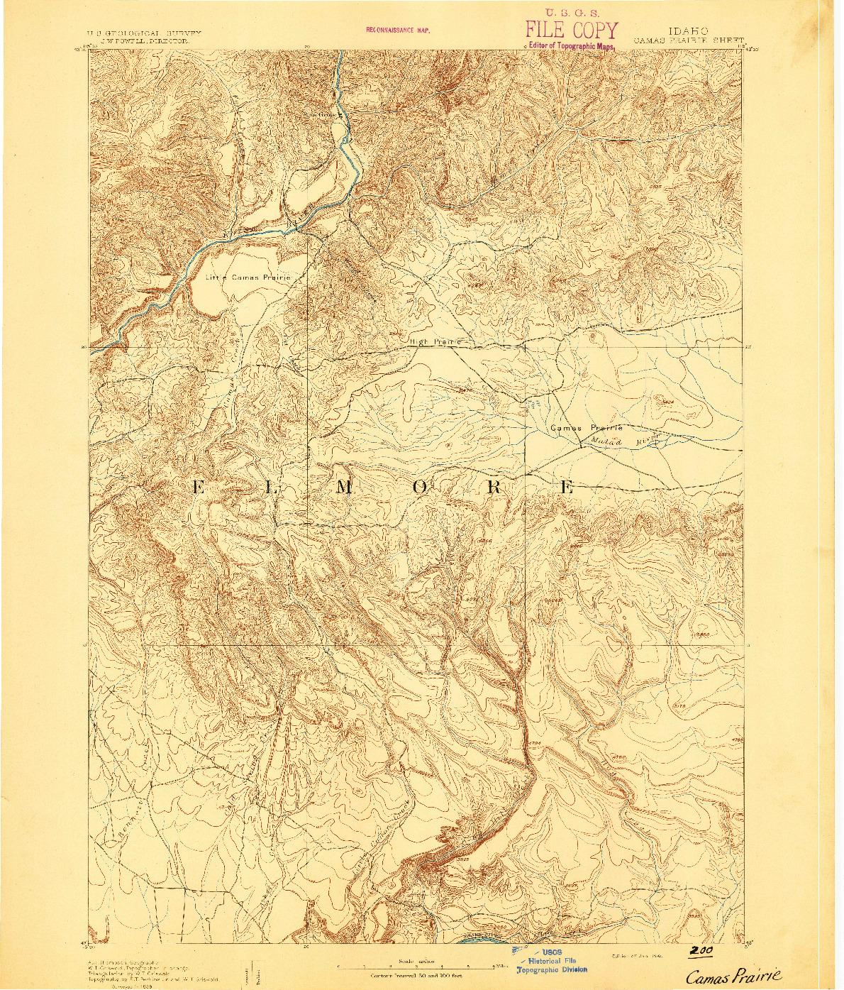 USGS 1:125000-SCALE QUADRANGLE FOR CAMAS PRAIRIE, ID 1892