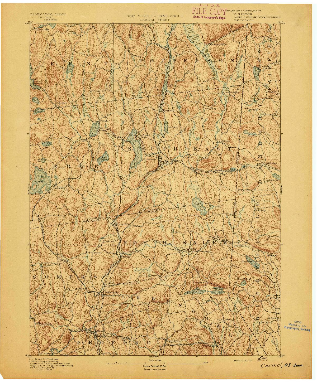 USGS 1:62500-SCALE QUADRANGLE FOR CARMEL, NY 1892