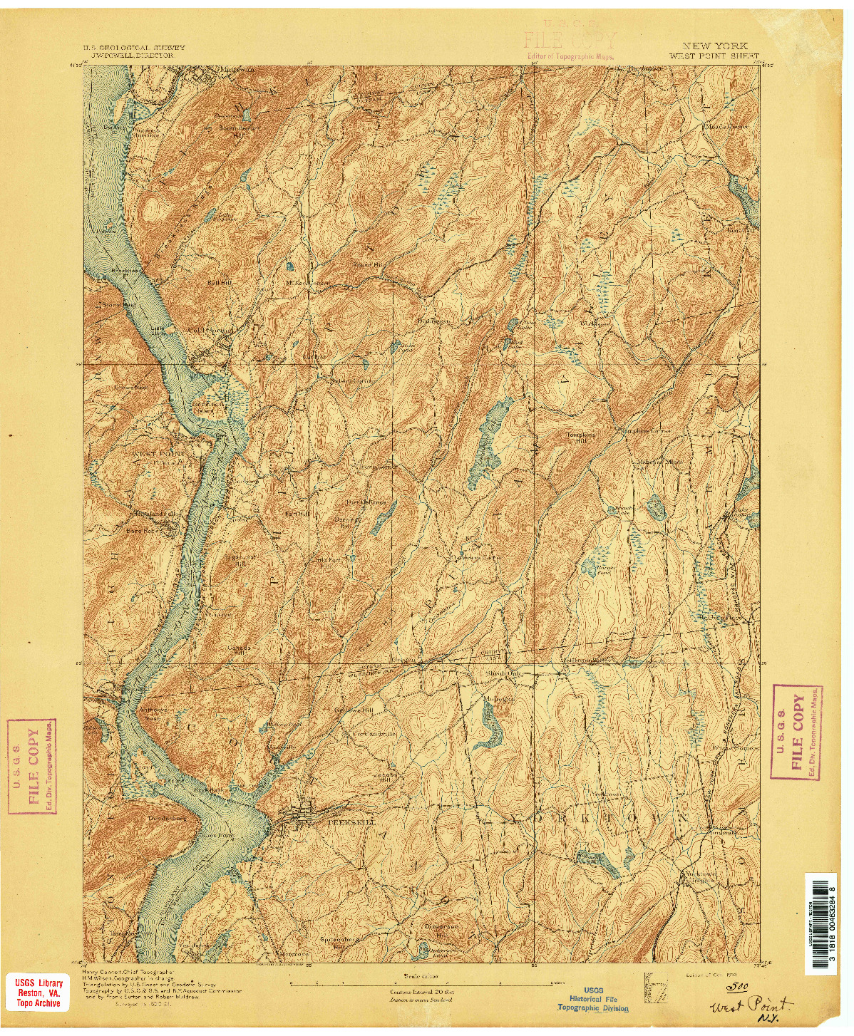 USGS 1:62500-SCALE QUADRANGLE FOR WEST POINT, NY 1892