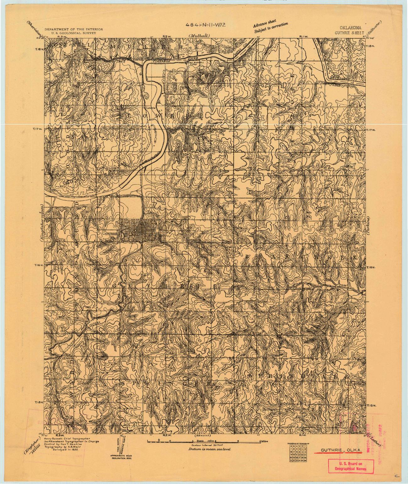 USGS 1:62500-SCALE QUADRANGLE FOR GUTHRIE, OK 1892