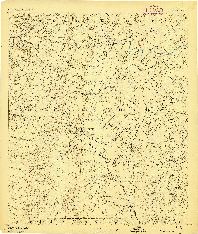 USGS 1:125000-SCALE QUADRANGLE FOR ALBANY, TX 1892