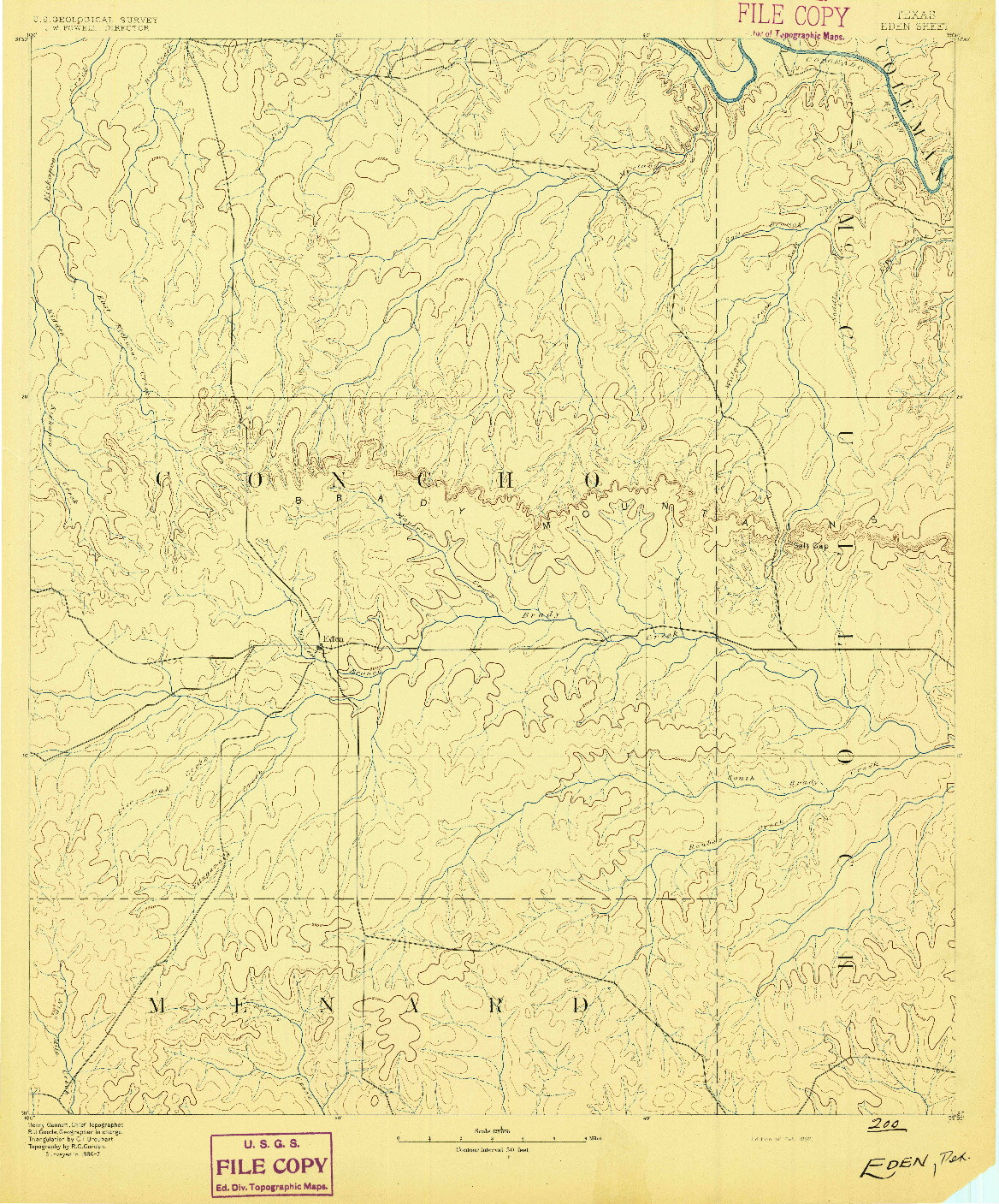 USGS 1:125000-SCALE QUADRANGLE FOR EDEN, TX 1892