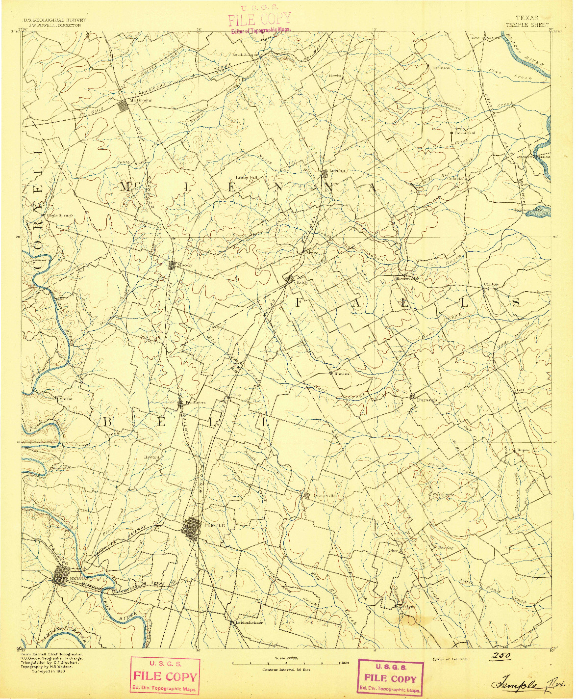 USGS 1:125000-SCALE QUADRANGLE FOR TEMPLE, TX 1892
