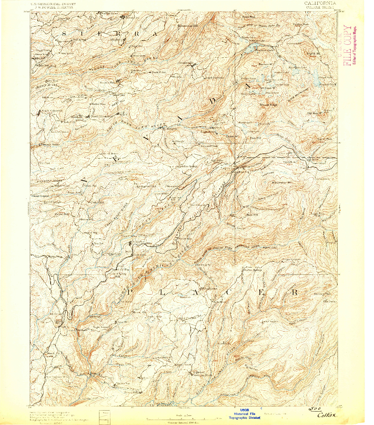 USGS 1:125000-SCALE QUADRANGLE FOR COLFAX, CA 1892