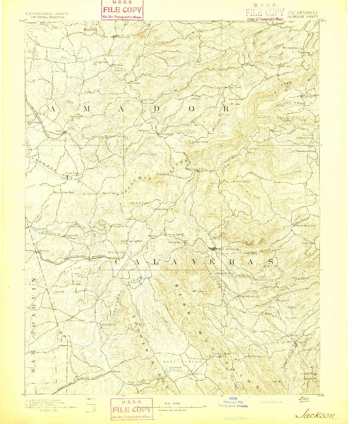 USGS 1:125000-SCALE QUADRANGLE FOR JACKSON, CA 1892