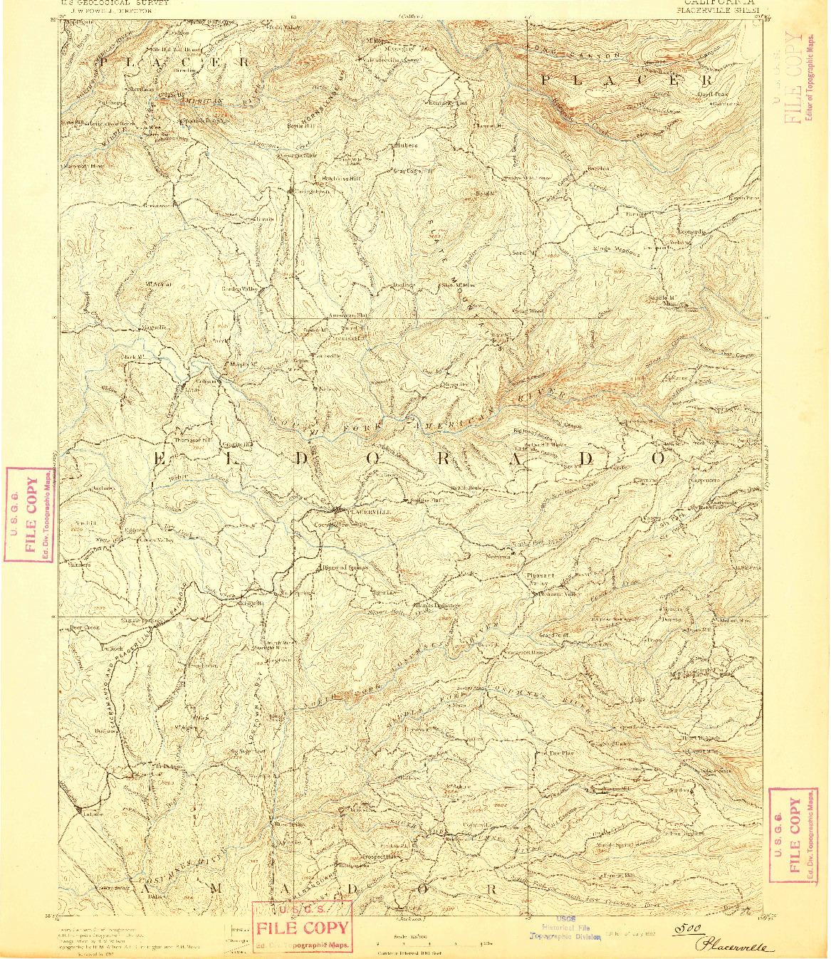 USGS 1:125000-SCALE QUADRANGLE FOR PLACERVILLE, CA 1892
