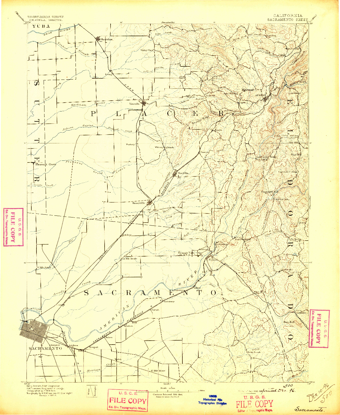 USGS 1:125000-SCALE QUADRANGLE FOR SACRAMENTO, CA 1892