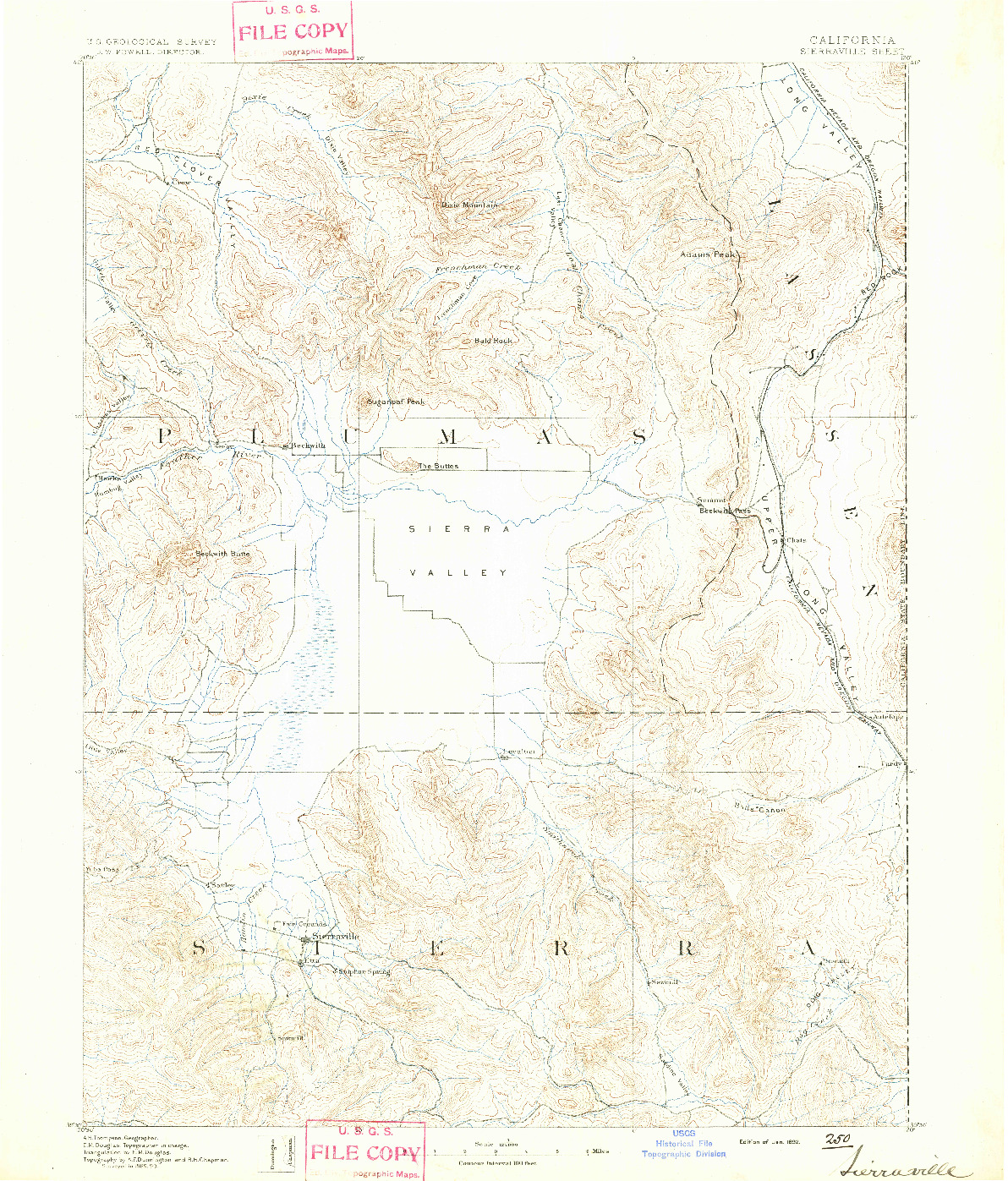 USGS 1:125000-SCALE QUADRANGLE FOR SIERRAVILLE, CA 1892