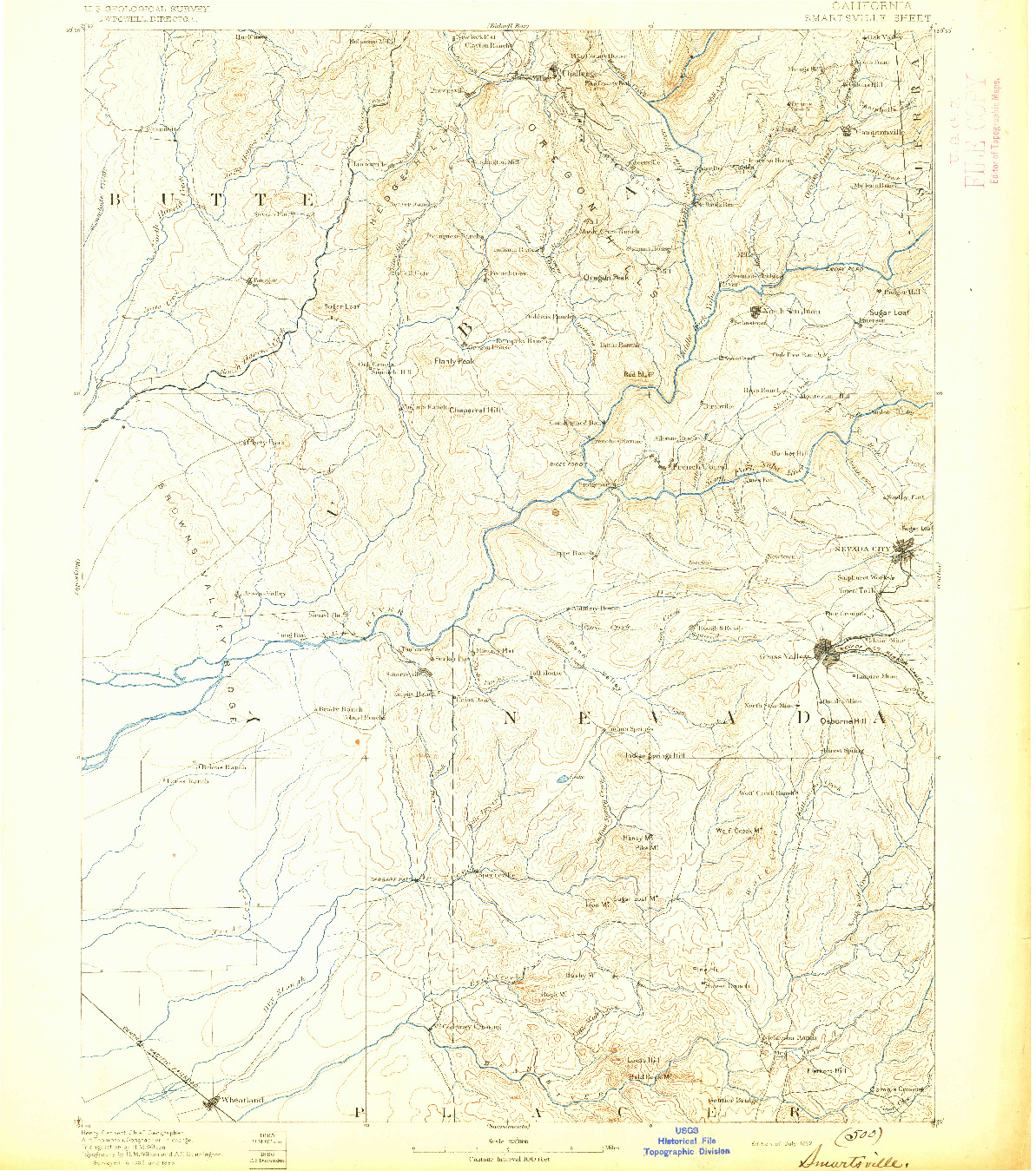 USGS 1:125000-SCALE QUADRANGLE FOR SMARTSVILLE, CA 1892