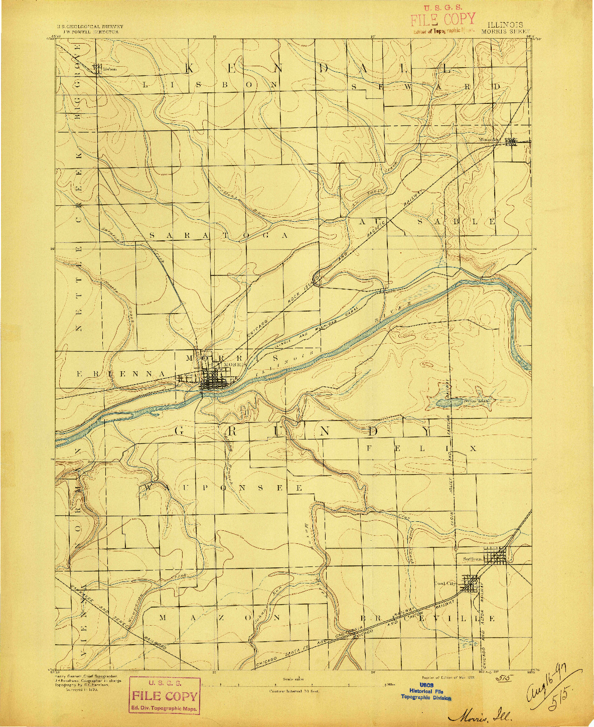 USGS 1:62500-SCALE QUADRANGLE FOR MORRIS, IL 1892