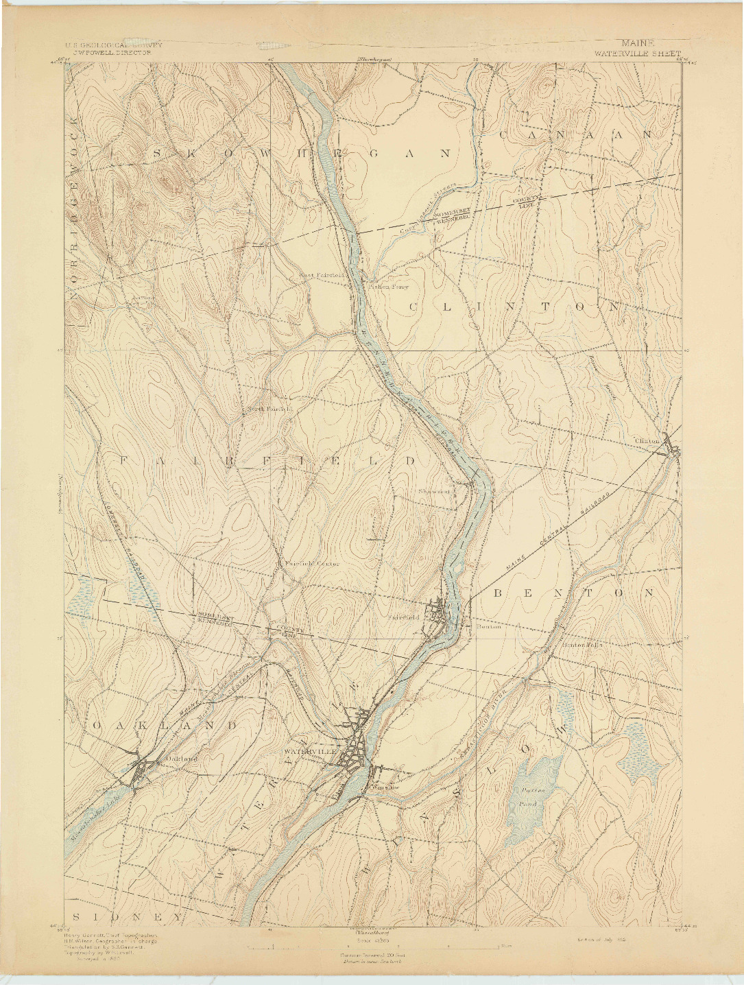 USGS 1:62500-SCALE QUADRANGLE FOR WATERVILLE, ME 1892