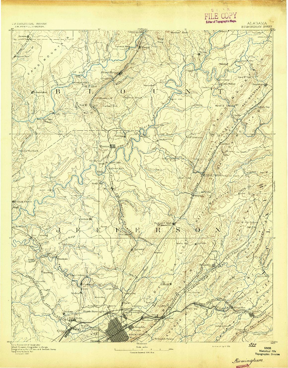 USGS 1:125000-SCALE QUADRANGLE FOR BIRMINGHAM, AL 1892